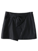 Women's|Casual|Skirts Black Front Bowknot Asymmetrical Hem PU Mini Skirt