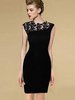 Casual Black Lace Paneled  Sleeveless Dress