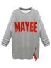 Women's|Women's|Women's|Casual Gray Front Letter Sweatshirt With Side Zipper