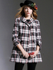 Women's|Casual Multicolor Lapel Plaid Double Breasted Long Sleeve Coat