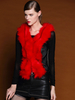 Women's Fashion|Women's|Casual Red PU Waistcoat With Faux Fur Paneled