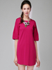 Dresses|Casual Rose Red Puff Sleeve Round Neck Dress