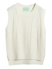 Women's|Casual|Day/Casual White Dipped Hem Knit Vest Jumper