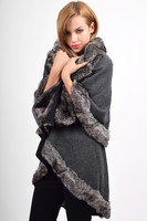 Other  - FUR TRIM CAPE - CHARCOAL