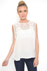 Day/Casual KELSIE LACE EMBROIDERED WHITE CHIFFON TOP