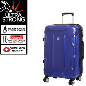 Blue Transformer 8 Wheels Large Suitcase