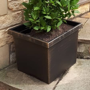 Pair Of Tuscany Square Bronze Finish Planters 30l