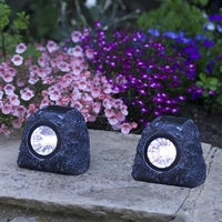 Plants & Plant Care  - Solar Rock Spotlights - Granite Effect - 4pk