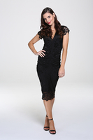 Adrianna Black Lace Midi Dress