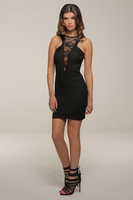 Elegant|Mini  - Lacey Black Lace Short Dress