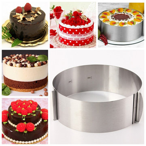Cooking & Baking|Accessories|Crockery & Cutlery for camping|Cookie cutters  - 6 to12 Inch Stainless Steel Adjustable Mousse Cake Ring Baking Mold