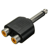 "6.35mm 1/4"" Mono Plug To 2 RCA Female Jacks Splitter Audio Adapter Converter"