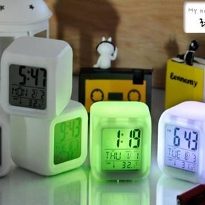 Alarm Clocks|Bedside Alarm Clocks|Accessories|Novelty Gifts  - 7 Colors Change Alarm Clock LED Light Digital LCD Clock Thermometer Calendar Date Time