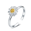 925 Sterling Silver Small Daisy Flower Opening Ring For Women