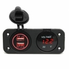 Car Charger Dual USB Port LED Digital Display Voltmeter Waterproof 12V 24V