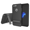 Jet Black Rock Beveled Kickstand Case TPU PC Double Layered Protection For iPhone 7 Plus 5.5 Inch