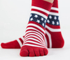 Mens Cotton Star Stripe Shaped Five Toe Socks Middle Tube Socks