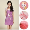 Restaurant Kitchen Cooking Work Bib Rabbit Lattice Pocket Cartoon Apron Dress