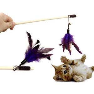 Transport & Safety|Toys|Accessories  - Yani HP-PT1 Pet Tease Cat Stick Pure Goose Feather Wooden Cat Toys Pet Funny Playing Supplies