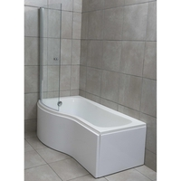 Savisto 1700mm P-Shaped Left Hand Shower Bath With Panel and Screen