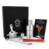 Savisto 7 Piece Manhattan Cocktail Shaker Gift Set and Recipe Book
