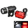 1/2 pcs 5- LED Bike Head Flash Light Torch with Bicycle Rear Tail Warning Lamp