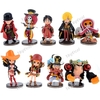 9 x Cartoon One Piece Figure Collection Doll Toy