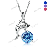 Necklaces & Chains  - 925 Silver Plated Pendant Dolphin Rhinestone Necklace Pendant