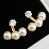 Fashion Korean Dress 3 Pearls Diamond Golden Earrings for Lady