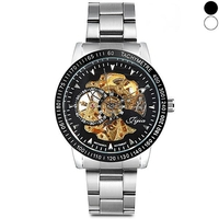 Mens  - JIJIA 8010 Mechanical Watch Self-winding Hollow-out Wristband