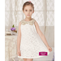 Low Shoes  - Lace Doll-Collar Paillette Decorated Dress  for Kids Girls
