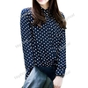 Lapel Wave Point Chiffon Bottoming Shirt for Women Girl Ladies