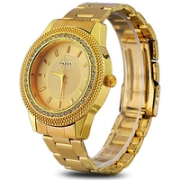 Paidu Gloden Quartz Watch with Diamond Stainless Steel Band Strap