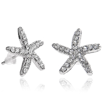 Pair of Sea Star Design Ear Pins for Girls