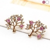 Pair of Three Style Hollow Stud Earrings with Rhinestones
