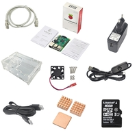 Accessories for Mobile Phones  - Raspberry Pi 3 Model B + 16GB TF Card + Case + Fan + Adapter + Cables