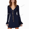 Trumpet Sleeves Casual Sexy V-neck Long Sleeve Dress (S-XL)