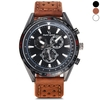 V6 Male Quartz Wrist Watch with Decorative Sub-dials Leather Band