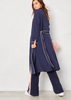 Abigail Navy Contrast Piping Belted Trench Coat