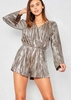 Adrienne Silver Pleated Open Back Playsuit