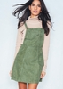 Alita Khaki Suede Pinafore Dress
