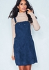 Alita Navy Suede Pinafore Dress