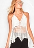 Aliyah White Crochet Halterneck Top