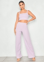 Fashion  - Asher Lilac Crop Top & Trouser Co-Ord Set