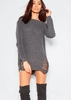 Women's Ayana Charcoal Wide Neck Distressed Knitted Jumper Dress