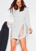 Women's Ayana Grey Wide Neck Distressed Knitted Jumper Dress