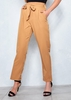 Women's Azelie Camel Paperbag Straight Leg Trousers