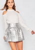 Candice Silver Structured Jacquard Mini Skater Skirt