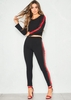Ciara Black Contrast Side Stripe Crop Co-Ord Set