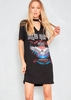 Clover Black King Of Rock Choker Neck Printed T Shirt Dress